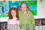 Eimear and Patrice Galvin from Moyvane two young artists at the Blue Umbrella art exhibition in Listowel on Friday..