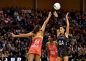 7th September 2017, Te Rauparaha Arena, Wellington, New Zealand; Taini Jamison Netball Trophy; New Zealand versus England;  Silver Ferns Maria Tutaia takes a shot at goal with Englands Geva Mentor attempting to block
