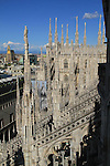 View from the roof of the Duomo Cathedral, Milan, Italy.