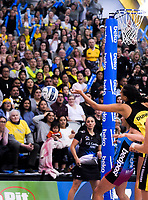The final pass to Aliyah Dunne goes long during the ANZ Premiership netball grand final between the Central Pulse and Southern Steel at Arena Manawatu in Palmerston North, New Zealand on Sunday, 12 August 2018. Photo: Dave Lintott / lintottphoto.co.nz