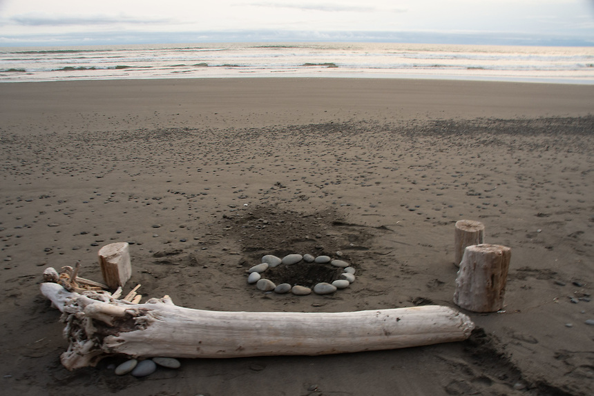 Beach Firepit Prepared for 4th of July Festivities, Kalaloch, Olympic Peninsula, Washington, US