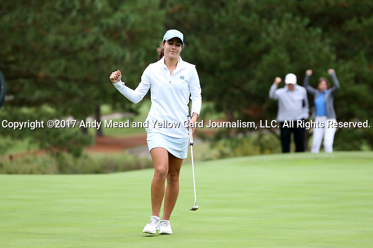 CHAPEL HILL, NC - OCTOBER 14: North Carolina's Mariana Ocano reacts to a birdie on the 2nd hole. The second round of the Ruth's Chris Tar Heel Invitational Women's Golf Tournament was held on October 14, 2017, at the UNC Finley Golf Course in Chapel Hill, NC.