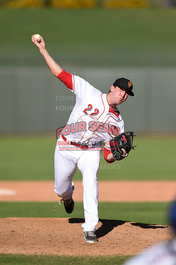 Surprise Saguaros pitcher Ben Klimesh (22) during an Arizona Fall League game against the Scottsdale Scorpions on October 11, 2014 at Surprise Stadium in Surprise, Arizona.  Scottsdale defeated Surprise 7-6.  (Mike Janes/Four Seam Images)