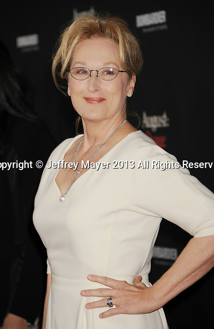 LOS ANGELES, CA- DECEMBER 16: Actress Meryl Streep arrives at the 'August: Osage County' - Los Angeles Premiere at Regal Cinemas L.A. Live on December 16, 2013 in Los Angeles, California.