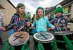 170318<br /> Drummers Ami Benton,Emma Flynn and Mary Cunningham during St Patricks Day parade in Tulla.Pic Arthur Ellis.