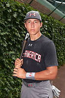 Christopher Troye (15) of Heritage High School in Brentwood, California poses for a photo before the Under Armour All-American Game presented by Baseball Factory on July 23, 2016 at Wrigley Field in Chicago, Illinois.  (Mike Janes/Four Seam Images)