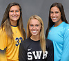 Varsity Girls Soccer Goalkeepers Haylee Poltorak of Massapequa, left, Lydia Kessel of Shoreham-Wading River, center, and Alexis Saladino of Newfield pose for a group portrait during Newsday's High School Fall Season Preview photo shoot at company headquarters on Friday, Sept. 1, 2017.