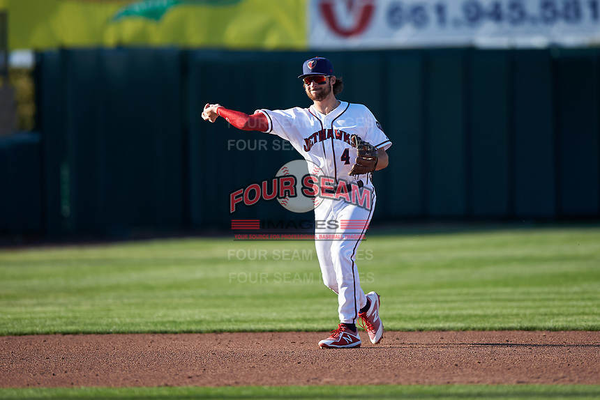 Lancaster JetHawks shortstop Ryan Vilade (4) during a California League game against the Lake Elsinore Storm on April 10, 2019 at The Hangar in Lancaster, California. Lake Elsinore defeated Lancaster 10-0 in the first game of a doubleheader. (Zachary Lucy/Four Seam Images)