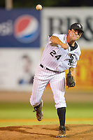 Relief pitcher Austin Evans #24 of the Bristol White Sox in action against the Pulaski Mariners at Boyce Cox Field August 28, 2010, in Bristol, Tennessee.  Photo by Brian Westerholt / Four Seam Images