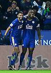 Riyad Mahrez of Leicester City (l) celebrates scoring the second goal with Wes Morgan of Leicester City (r) - English Premier League - Leicester City vs Chelsea - King Power Stadium - Leicester - England - 14th December 2015 - Picture Simon Bellis/Sportimage