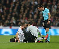 England's Eric Dier receives treatment for an injury<br /> <br /> Photographer Rob Newell/CameraSport<br /> <br /> UEFA Euro 2020 Qualifying round - Group A - England v Czech Republic - Friday 22nd March 2019 - Wembley Stadium - London<br /> <br /> World Copyright © 2019 CameraSport. All rights reserved. 43 Linden Ave. Countesthorpe. Leicester. England. LE8 5PG - Tel: +44 (0) 116 277 4147 - admin@camerasport.com - www.camerasport.com