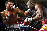 Kendall Holt  (l) lands a  left  hook flush on Isaac Hlatswayo during their Vacant NABO Junior Welterweight 12 rounds title fight at the Bally's hotel casino in Atlantic City, N.J. on 11.03.2006.&amp;#xA;Holt won by unanimous decision and moved to 21 - 1.<br />