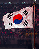 9th February 2018, Pyeongchang, South Korea; 2018 Winter Olympic Games; PyeongChang Olympic Stadium; The national flag of South Korea waving on the flag pole during the Opening Ceremony