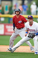Columbus Clippers outfielder Tyler Naquin (22) leads off first during a game against the Buffalo Bisons on July 19, 2015 at Coca-Cola Field in Buffalo, New York.  Buffalo defeated Columbus 4-3 in twelve innings.  (Mike Janes/Four Seam Images)