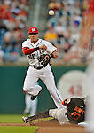 18 May 2012: Washington Nationals shortstop Ian Desmond turns a double-play to end the first inning against the Baltimore Orioles at Nationals Park in Washington, DC. The Orioles defeated the Nationals 2-1 in the first game of their 3-game series. Mandatory Credit: Ed Wolfstein Photo