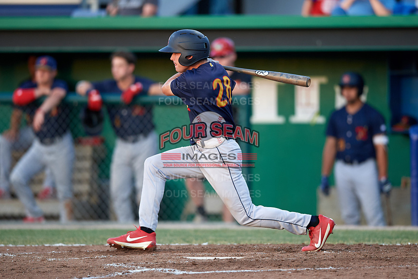 State College Spikes right fielder Justin Toerner (28) at bat during a game against the Batavia Muckdogs on July 9, 2018 at Dwyer Stadium in Batavia, New York.  State College defeated Batavia 3-0.  (Mike Janes/Four Seam Images)