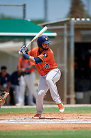 GCL Astros Adonis Giron (18) at bat during a Gulf Coast League game against the GCL Marlins on August 8, 2019 at the Roger Dean Chevrolet Stadium Complex in Jupiter, Florida.  GCL Marlins defeated GCL Astros 5-4.  (Mike Janes/Four Seam Images)