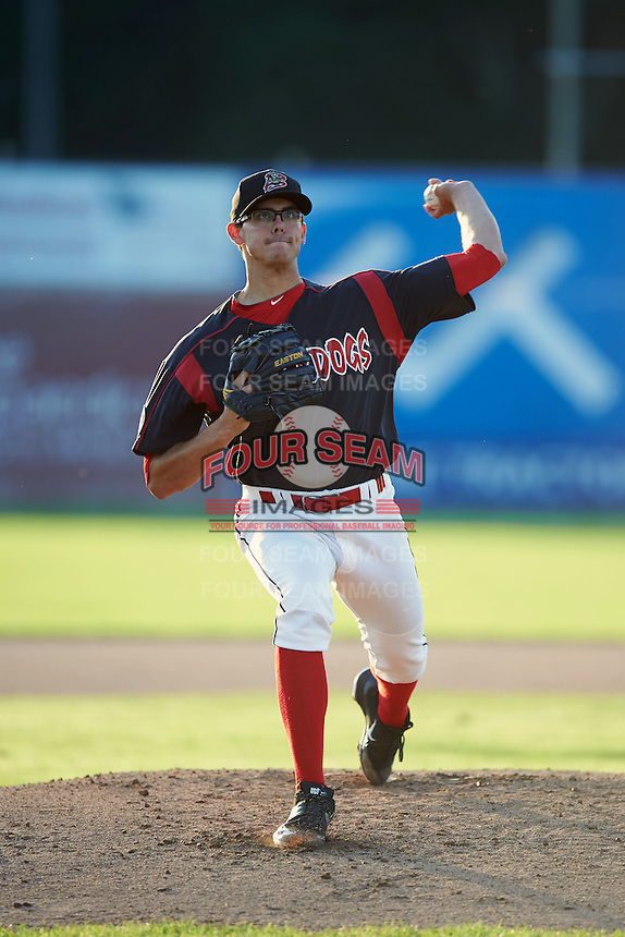 Batavia Muckdogs pitcher Justin Jacome (44) delivers a warmup pitch during the second game of a doubleheader against the Mahoning Valley Scrappers on July 2, 2015 at Dwyer Stadium in Batavia, New York.  Mahoning Valley defeated Batavia 3-0.  (Mike Janes/Four Seam Images)