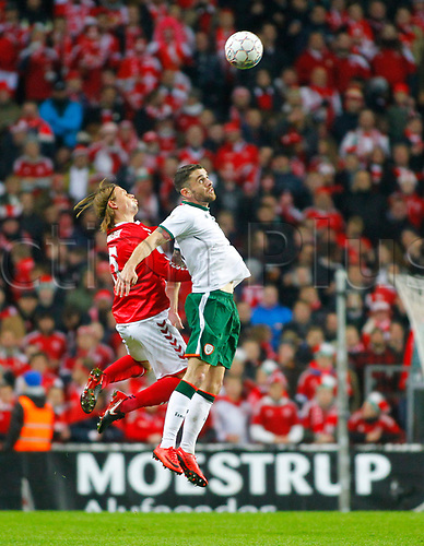 11th November 2017, Telia Parken, Copenhagen, Denmark; FIFA World Cup Qualification, European playoff, 1st leg; Denmark versus Republic of Ireland; Peter Ankersen (Denmark) and Robbie Brady (Republic of Ireland) challenge for the ball