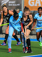 Shiloh Gloyn of the Blacksticks tackles during the international hockey match between the Blacksticks Women and India, Rosa Birch Park, Pukekohe, New Zealand. Sunday 14  May 2017. Photo:Simon Watts / www.bwmedia.co.nz