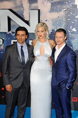 LONDON, ENGLAND - MAY 9: Oscar Isaac, Jennifer Lawrence and James McAvoy attending the 'X-Men: Apocalypse' - Global Fan Screening at BFI IMAX in London on May 9, 2016 in London, England.<br /> CAP/MAR<br /> &copy; Martin Harris/Capital Pictures /MediaPunch ***NORTH AND SOUTH AMERICAN SALES ONLY***