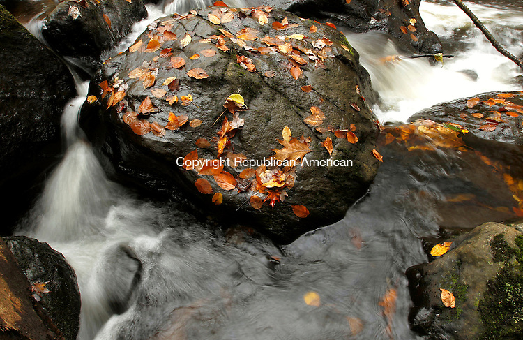 Middlebury, CT-15 October 2012-101512CM03-  A creek flows around a rock with fall foliage at Hop Brook Lake Monday afternoon in Middlebury.  According to the National Weather Service, Tuesday is expected to be sunny, with a high near 56.      Christopher Massa Republican-American
