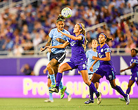 Orlando, FL - Saturday September 10, 2016: Tasha Kai, Dani Weatherholt during a regular season National Women's Soccer League (NWSL) match between the Orlando Pride and Sky Blue FC at Camping World Stadium.