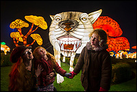 BNPS.co.uk (01202 558833)<br /> Pic: PhilYeomans/BNPS<br /> <br /> Mum Caramantha Wellsted with daughters Poppy and Lili enjoy the stunning Longleat Festival of Light this year.<br /> <br /> Longleat House has been transformed into a world full of spectacular fantasy and fairytales for its popular Festival of Light this winter.<br /> <br /> Featuring Little Red Riding Hood, Goldilocks, Hansel and Gretel and even a life size floating Galleon, the festival is the oldest and largest in the UK.<br /> <br /> The stunning display using 30,000 metres of silk has been constructed by a team of highly skilled artisan's from the village of Zigong in Sichuan Province, China, which has a 2000 year tradition of lantern festivals.