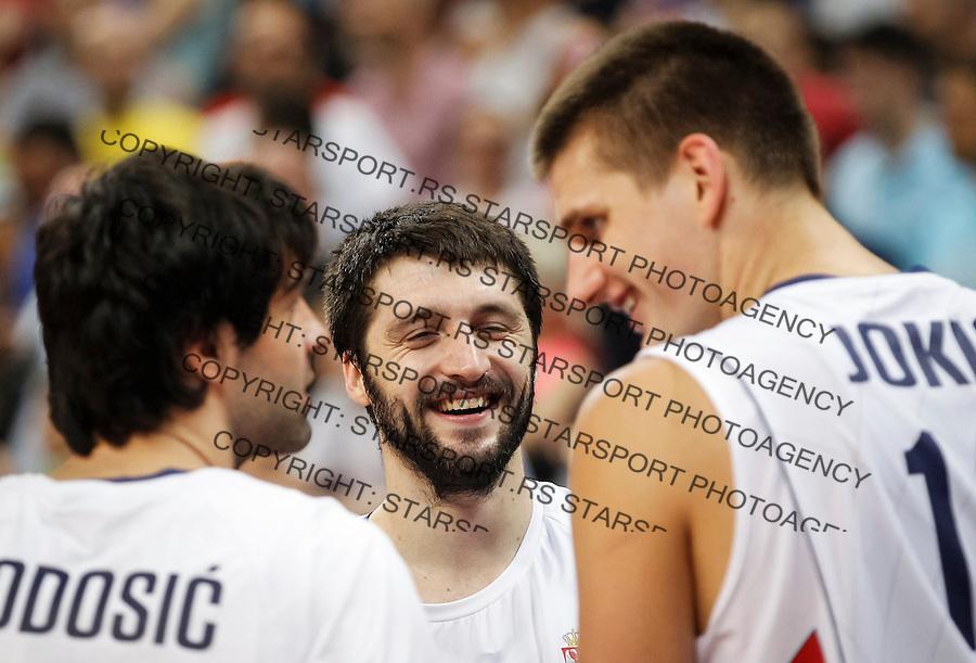 Kosarka FIBA Olympic Basketball Qualifying Tournament-FINAL<br /> Serbia v Puerto Rico<br /> Milos Teodosic (L) Stefan Markovic and Nikola Jokic (R)<br /> Beograd, 09.07.2016.<br /> foto: Srdjan Stevanovic/Starsportphoto&copy;