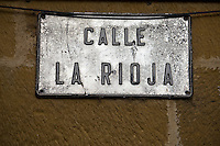 Street sign, La Rioja wine growing region in the the North West corner of Spain. Photo: joliphotos.com