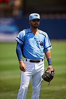 Charlotte Stone Crabs shortstop Peter Maris (3) warms up before a game against the Lakeland Flying Tigers on April 16, 2017 at Charlotte Sports Park in Port Charlotte, Florida.  Lakeland defeated Charlotte 4-2.  (Mike Janes/Four Seam Images)