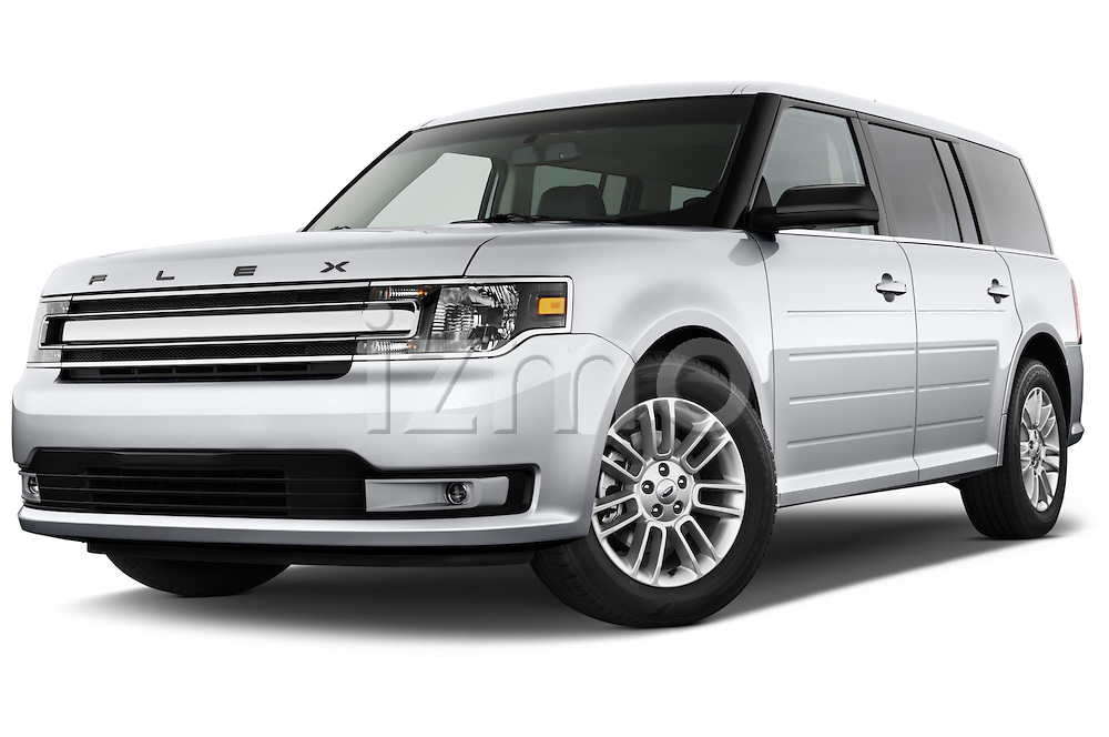 Low aggressive front three quarter view of a 2018 Ford Flex SEL