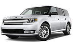 Low aggressive front three quarter view of a 2013 Ford Flex SEL