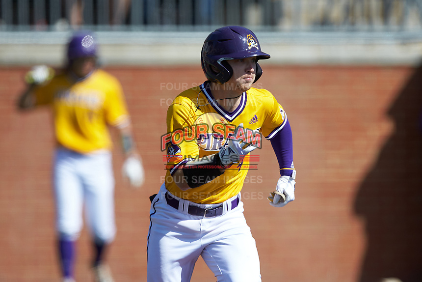 Lane Hoover (4) of the East Carolina Pirates hustles down the first base line against the Charlotte 49ers at Hayes Stadium on March 8, 2020 in Charlotte, North Carolina. The Pirates defeated the 49ers 4-1. (Brian Westerholt/Four Seam Images)