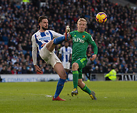 Watford's Will Hughes (right) battles with Brighton & Hove Albion's Davy Propper (left) <br /> <br /> Photographer David Horton/CameraSport<br /> <br /> The Premier League - Brighton and Hove Albion v Watford - Saturday 2nd February 2019 - The Amex Stadium - Brighton<br /> <br /> World Copyright © 2019 CameraSport. All rights reserved. 43 Linden Ave. Countesthorpe. Leicester. England. LE8 5PG - Tel: +44 (0) 116 277 4147 - admin@camerasport.com - www.camerasport.com