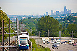 Seattle, Sound Transit, link light rail, Central Link, from SeaTac Airport to downtown Seattle, from Tukwilla, I-5 freeway,