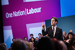 © Joel Goodman - 07973 332324 . 24/09/2013 . Brighton , UK . ED MILIBAND delivers the Leader's Speech to the Labour Party conference , this afternoon (24th September 2013) . Day 3 of the Labour Party Conference in Brighton . Photo credit : Joel Goodman