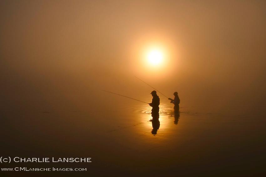 Misty morning sunrise on the Henry's Fork of the Snake River, Idaho.  September 2012.