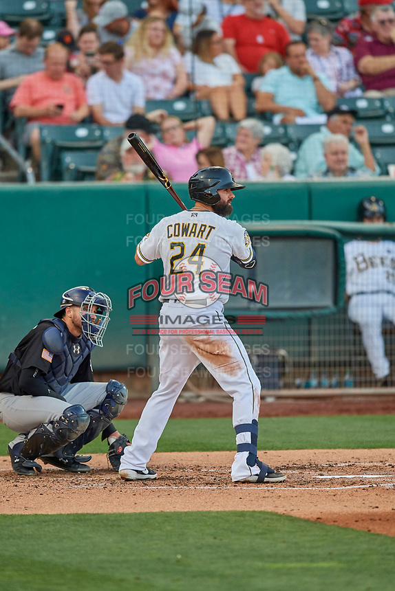Kaleb Cowart (24) of the Salt Lake Bees at bat against the El Paso Chihuahuas at Smith's Ballpark on August 17, 2019 in Salt Lake City, Utah. The Bees defeated the Chihuahuas 5-4. (Stephen Smith/Four Seam Images)