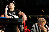 "Pat Baffa, in total concentration, waits for his opponent to step up to the table at the 28th Annual Big Apple Grapple, held in New York City on March 19, 2005.  The tournament is the first in the 2005 New York Arm Wrestling Association's ""Golden Arm Series""."
