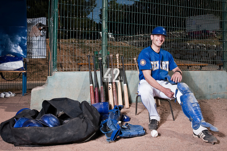 24 May 2009: Alex Malihoudis of Senart is seen prior to a game against La Guerche during the 2009 challenge de France, a tournament with the best French baseball teams - all eight elite league clubs - to determine a spot in the European Cup next year, at Montpellier, France. Senart wins 8-5 over La Guerche.