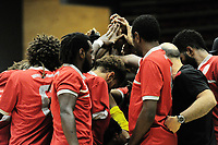The New Caledonia team huddles before the international men's futsal match between the NZ Futsal Whites and New Caledonia at Baypark Arena in Mount Maunganui, New Zealand on Thursday, 14 September 2017. Photo: Dave Lintott / lintottphoto.co.nz