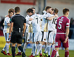 02.05.2018 Arbroath v Dumbarton: Callum Gallagher takes the acclaim after scoring
