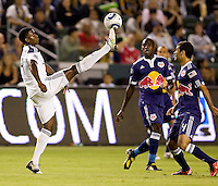 LA Galaxy forward Edson Buddle just barely reaches the ball. The New York Red Bulls beat the LA Galaxy 2-0 at Home Depot Center stadium in Carson, California on Friday September 24, 2010.