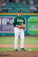 Fort Wayne TinCaps starting pitcher Aaron Leasher (24) gets ready to deliver a pitch during a game against the West Michigan Whitecaps on May 17, 2018 at Parkview Field in Fort Wayne, Indiana.  Fort Wayne defeated West Michigan 7-3.  (Mike Janes/Four Seam Images)