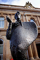 Statue of W.B. Yeats on the principal street, Wine Street, Sligo City, Ireland