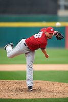 Columbus Clippers pitcher Trey Haley (36) follows through on a pitch during a game against the Buffalo Bisons on July 19, 2015 at Coca-Cola Field in Buffalo, New York.  Buffalo defeated Columbus 4-3 in twelve innings.  (Mike Janes/Four Seam Images)