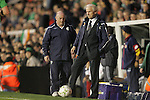 29 May 2008: Ireland head coach Giovanni Trapattoni (ITA) (right) traps the ball as it rolls out of play. The Republic of Ireland Men's National Team defeated the Colombia Men's National Team 1-0 at Craven Cottage in London, England in an international friendly soccer match.