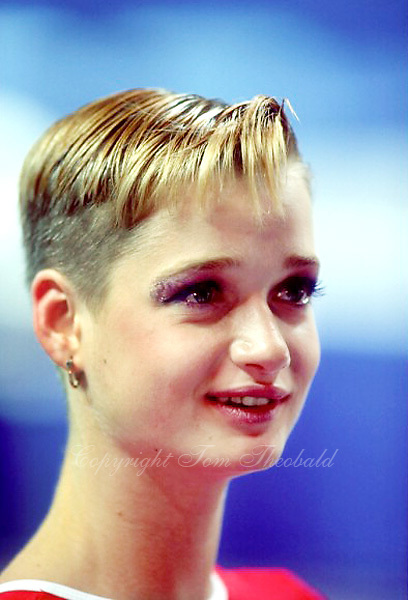 July 26, 1998; New York, NY, USA; Portrait of artistic gymnast Svetlana Khorkina of Russia photographed at press interview mixed zone at 1998  Goodwill Games New York. Copyright 1998 Tom Theobald
