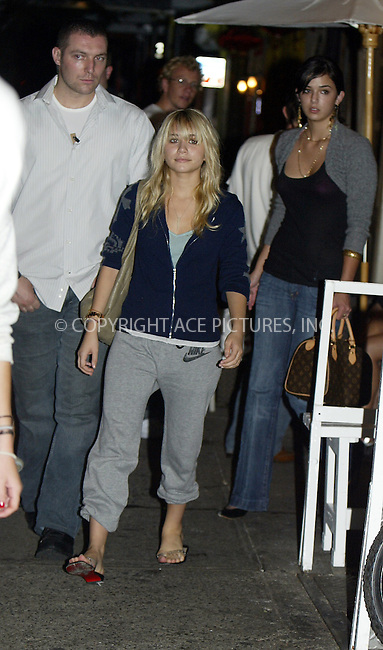 NO USA SALES UNTIL 9/6/2004....*** EXCLUSIVE ***..Mary-Kate Olsen and Ashley Olsen spotted leaving Bread Restaurant in SoHo after having dinner. New York, August 27, 2004. ....Please byline: PHILIP VAUGHAN - ACEPIXS.COM   .. *** ***  ..Ace Pictures, Inc:  ..contact: Alecsey Boldeskul (646) 267-6913 ..Philip Vaughan (646) 769-0430..e-mail: info@acepixs.com